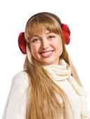 Beautiful young woman wearing ear flaps — Stock Photo