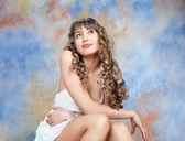 Fashion portrait of beautiful blond girl — Stock Photo