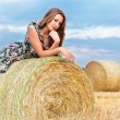 Woman sitting on hay bale — Stock Photo #6406988
