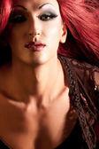 Transvestita. muž, oblečený jako žena. — Stock fotografie