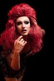 Drag-queen. man gekleed als vrouw. — Stockfoto