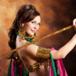 Beautiful exotic belly dancer woman - Stock Photo