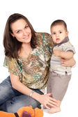 Little son and his pretty young mother — Stock Photo