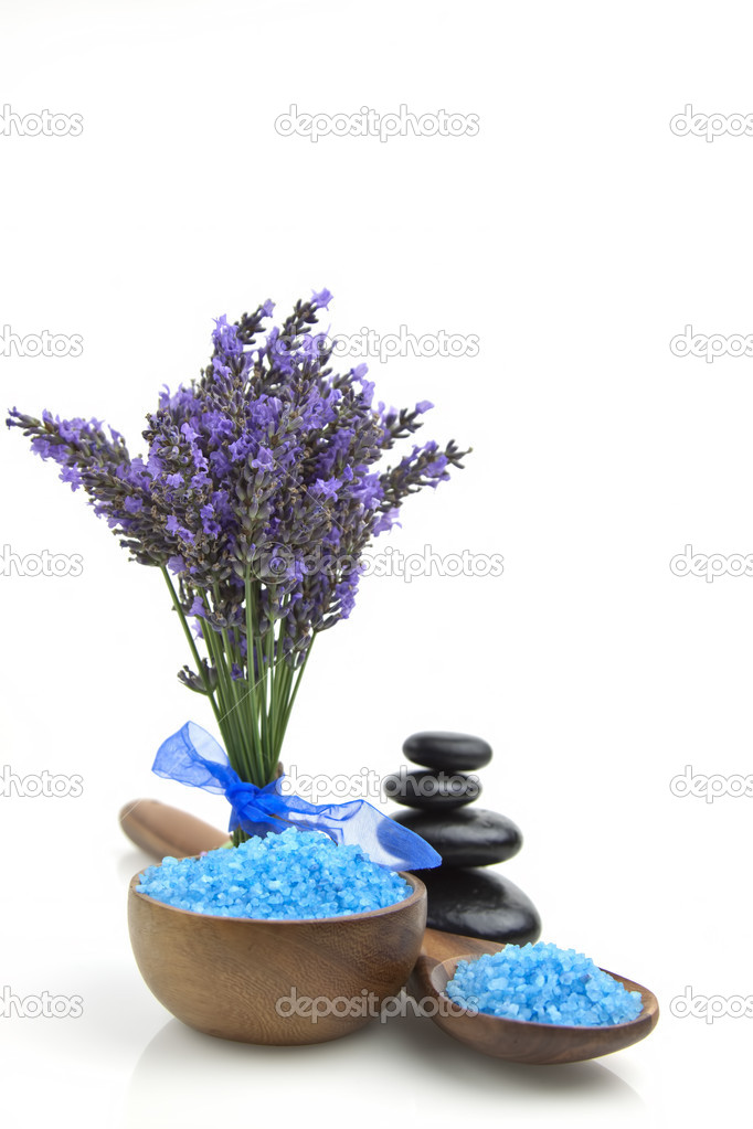 Lavender organic salt for spa with  lavender flowers on a white background  Stock Photo #6329496