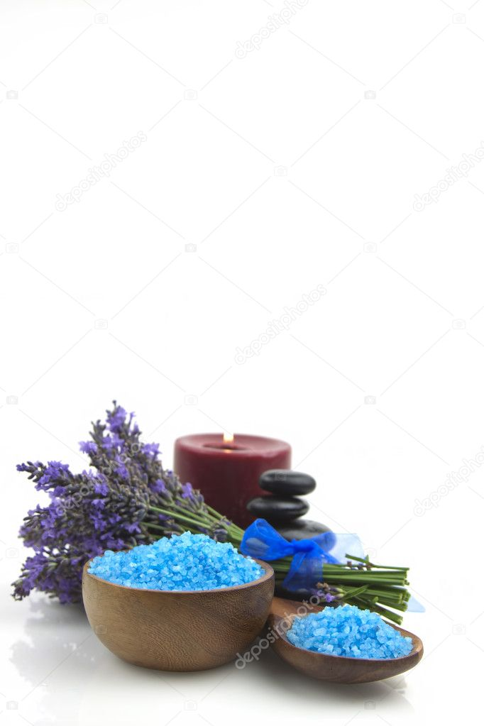 Lavender organic salt for spa with  lavender flowers on a white background  Stock Photo #6329517