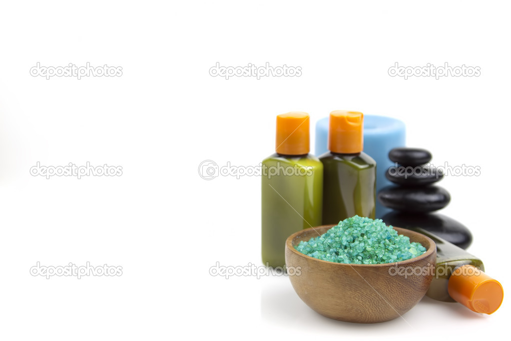 Green organic salt for spa with oil,shampoo and soap on a white background  Stock Photo #6329549
