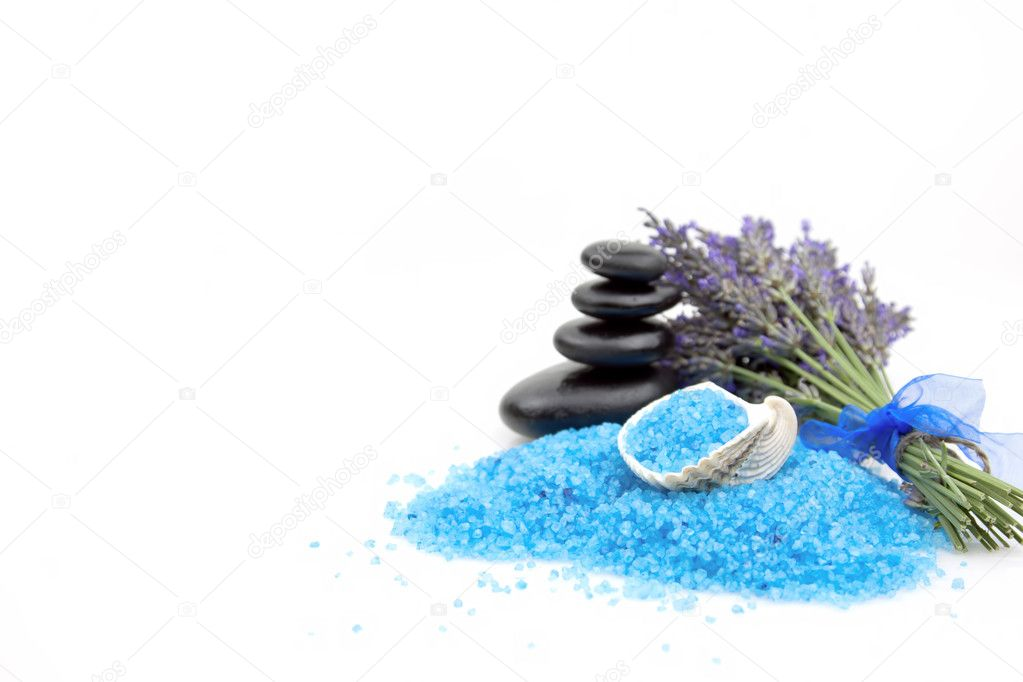 Lavender flowers with spa salt and black stones on a white background — Stock Photo #6457929