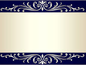 Vintage scroll background in silver beige and blue — Stock Vector