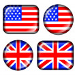 USA and UK Flag Button with 3d effect isolated in white — Stock Photo #5383986