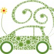 Ecological friendly flower car concept - Stock Vector