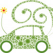 Royalty-Free Stock Imagen vectorial: Ecological friendly flower car concept