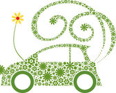 Ecological friendly flower car concept — Stock Vector