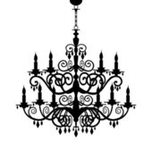 Baroque chandelier silhouette — Stock Vector