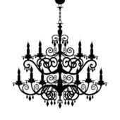Baroque chandelier silhouette — Stock Vector