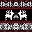 Christmas nordic pattern on black - ベクター素材ストック