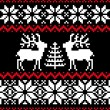 Christmas nordic pattern on black - Stock Vector