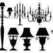 Set of antique lighting silhouettes — Stock Vector