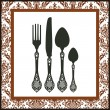 Stock Vector: Retro cutlery background