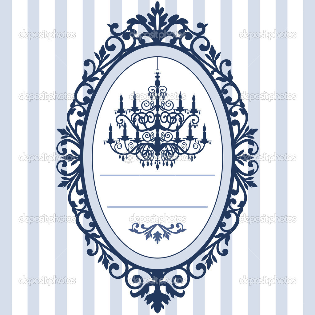 Design for wedding cards with vintage, antique oval picture frame and ...