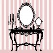 Retro dressing console, candelabra and mirror — Grafika wektorowa