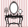 Retro dressing console, candelabra and mirror — Imagen vectorial
