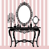 Retro dressing console, candelabra and mirror — Stock Vector