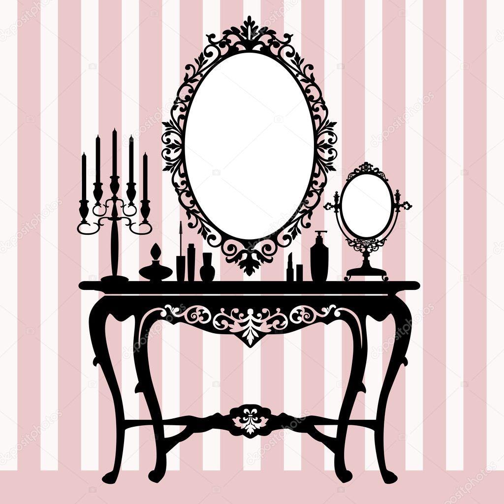 Retro dressing console, candelabra and mirror — Stock Vector ...
