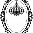 Vector de stock : Vintage frame with chandelier