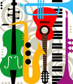 Abstract vector music instruments — Stock Vector