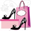 Stock Vector: Fashion shoes shopping
