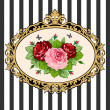 Stock Vector: Vintage rose bouquet frame