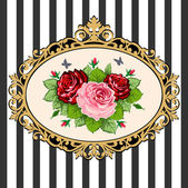 Vintage rose bouquet frame — Stock Vector