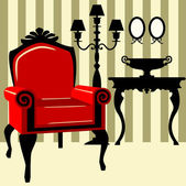 Antique interior with red armchair — Stock Vector
