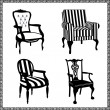 Set of antique chairs silhouettes — Stock Vector