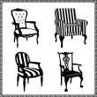 套的古董椅剪影 — 图库矢量图片