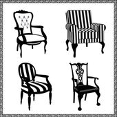 Antik kümesini siluetleri sandalyeler — Stok Vektör