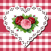 Vintage rose bouquet on lace heart — Stock Vector