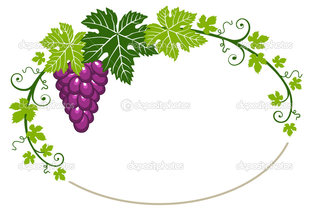 Grapes oval frame with green leaves on a white background with space for your design — Stock Vector #5866802