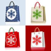 圣诞购物袋一套 — 图库矢量图片