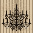 Stock Vector: Vintage chandelier on antique background