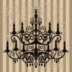 Vintage chandelier on antique background — Stock Vector