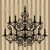 Vintage chandelier on antique background — Stock Vector