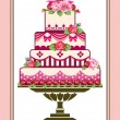 Cake with roses - Stock Vector