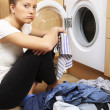 Housewife doing laundry — Stock Photo