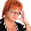 Mature woman with headache — Stock Photo