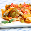 Chicken nachos - Stock Photo