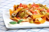 Chicken nachos — Stock Photo