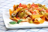 Chicken nachos — Stock Photo