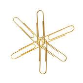 Golden paper clips — Foto de Stock
