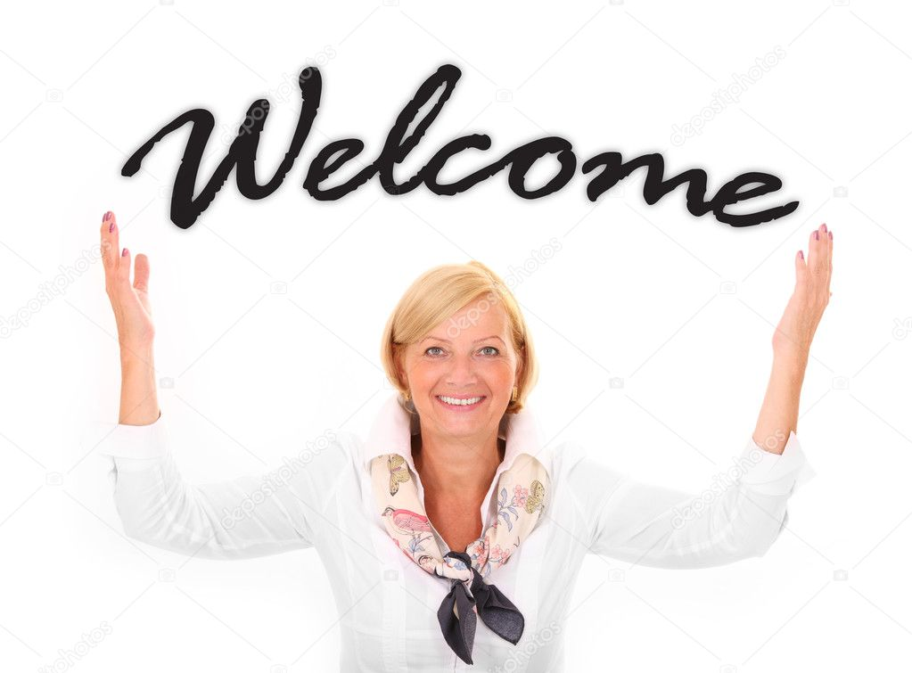 A picture of an attractive mature woman with her hands up in a welcoming gesture over white background — Stock Photo #6263228